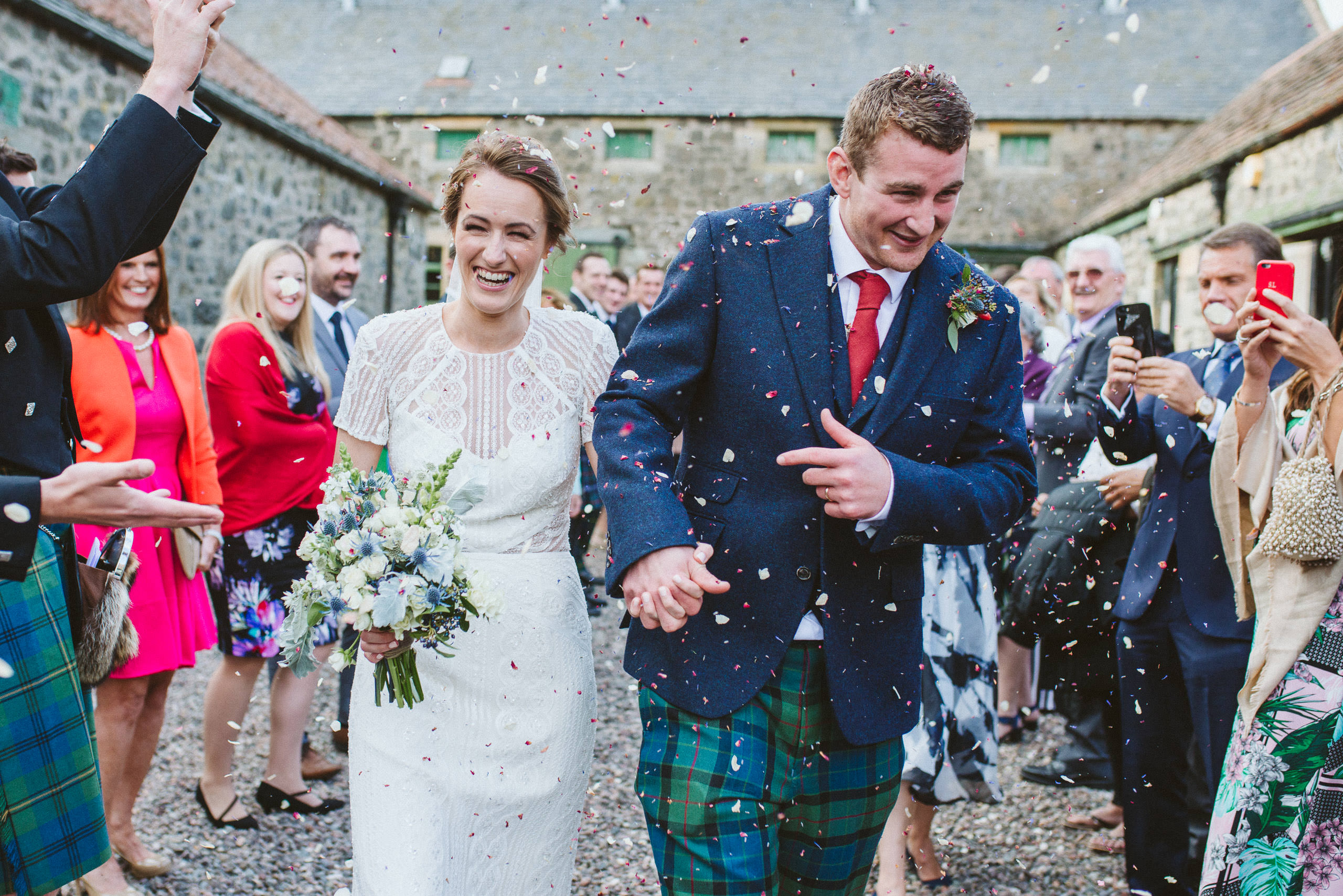 A confetti shot after the wedding ceremony at Pratis Farm, Fife, Scotland