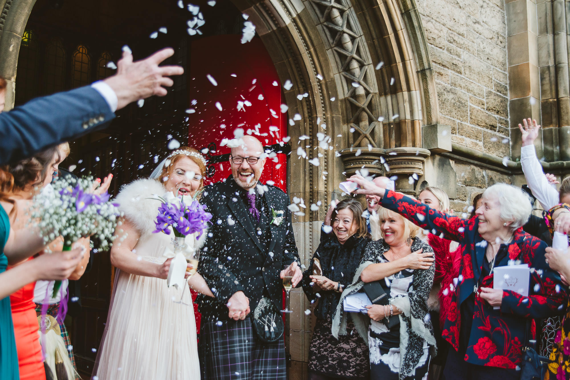 Confetti at a wedding at Mansfield Traquair in December