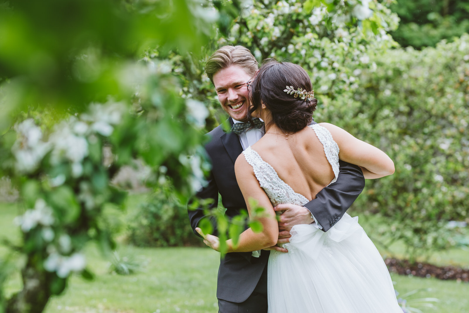 Bride and groom reactions at a first look